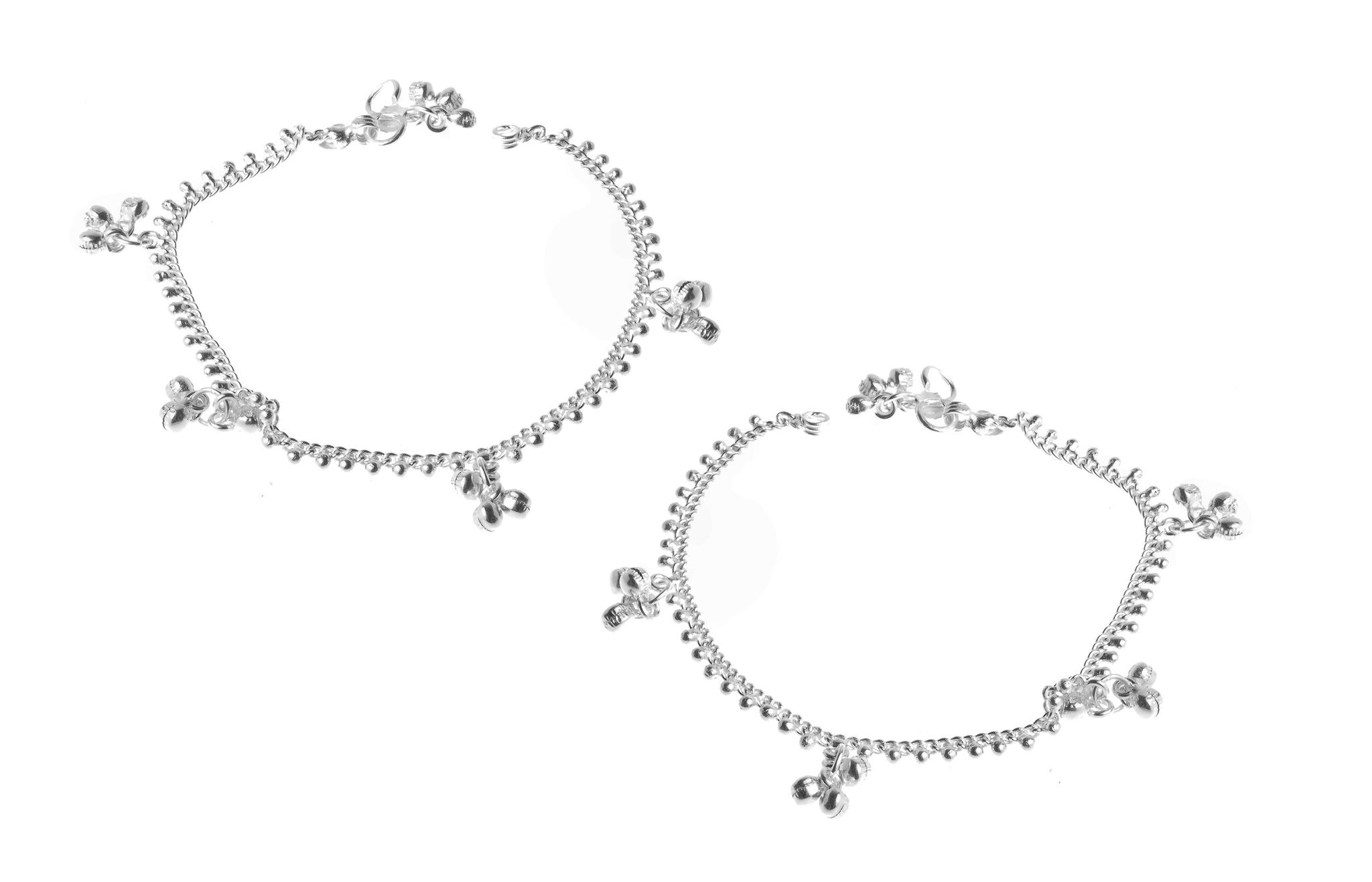 Silver Anklets with Ghughri Bell Charms A-7157 - Pair