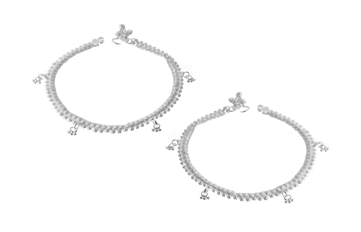 Silver Anklets with Ghughri Bell Charms (A-7158)
