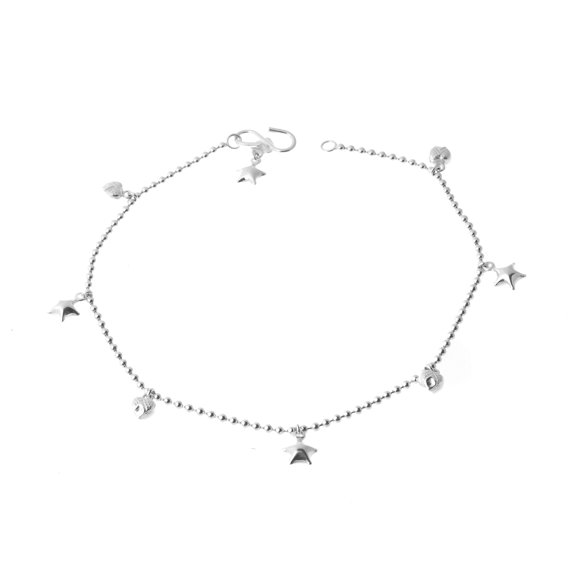 Sterling Silver Beaded Anklets with Heart and Star Bell Charms A-7159