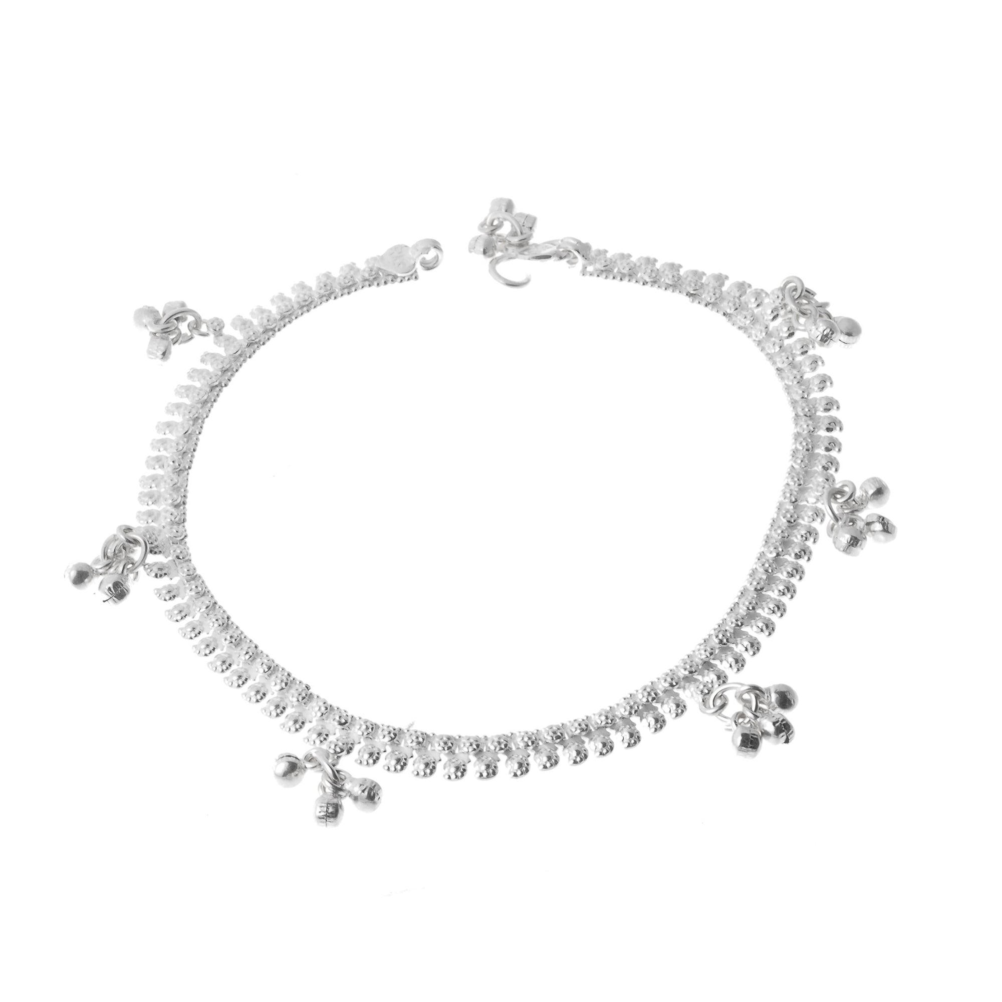 Silver Anklets with Ghughri Bell Charms A-7160 - Single