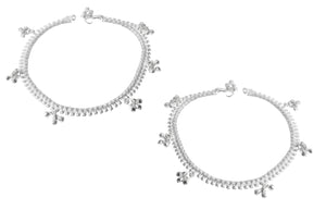 Silver Anklets with Ghughri Bell Charms A-7160 - Pair
