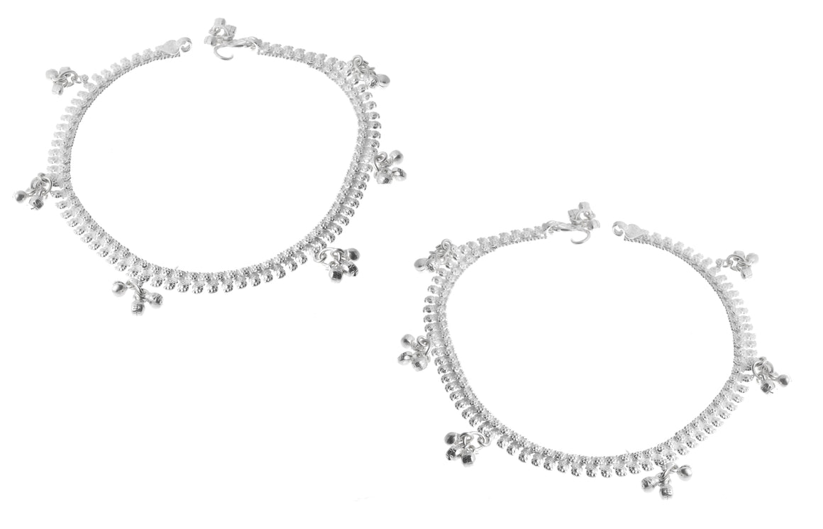 Silver Anklets with Ghughri Bell Charms (A-7160)