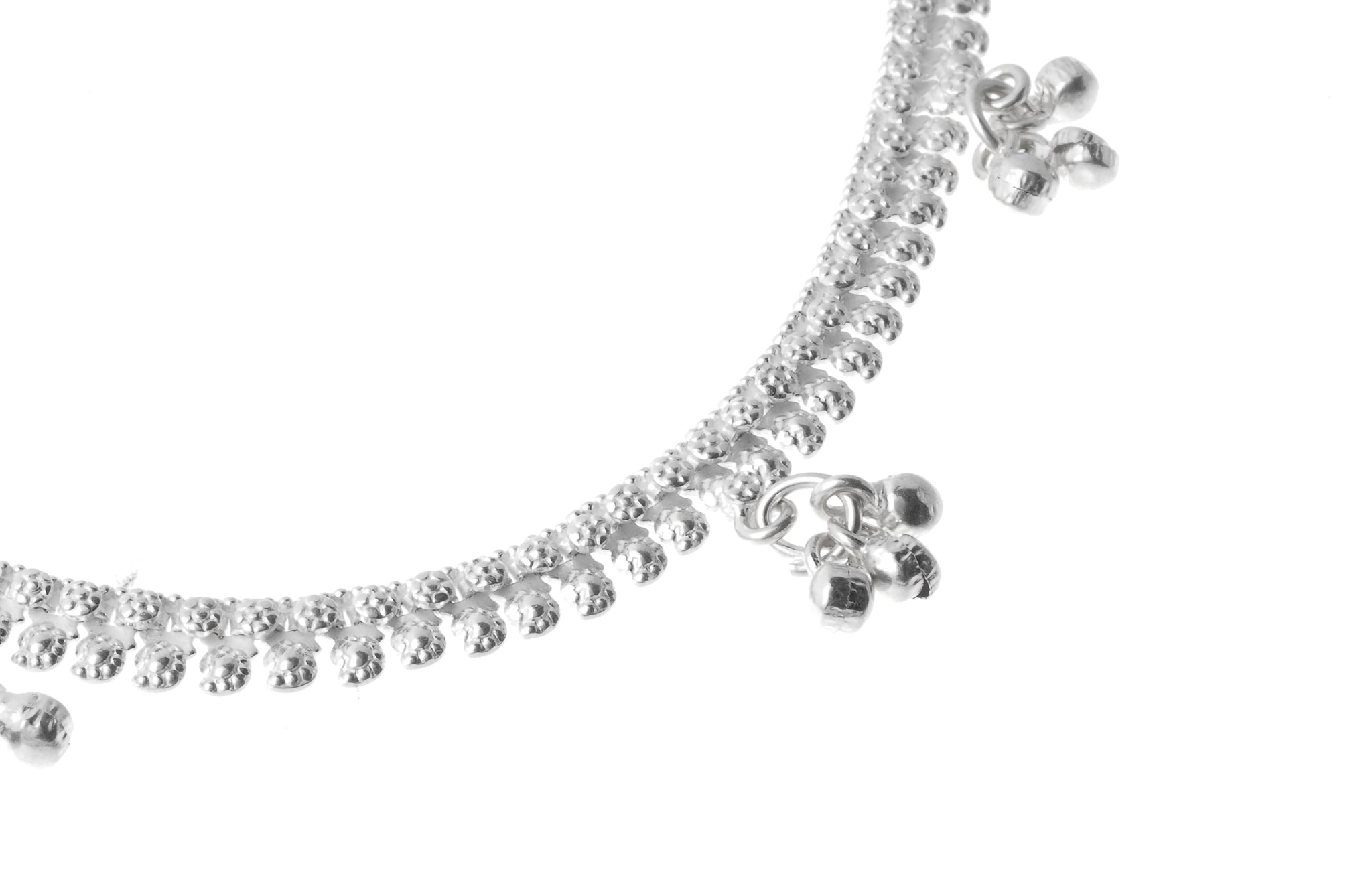 Silver Anklets with Ghughri Bell Charms A-7160 - Close Up_1