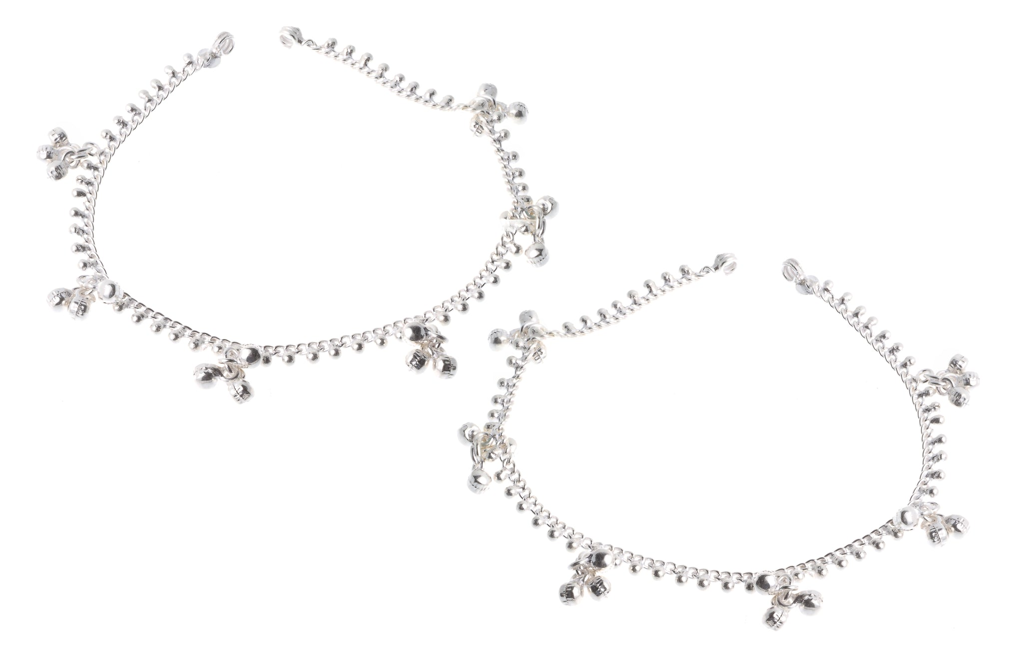 Silver Anklets with Ghughri Bell Charms A-7161 - Pair