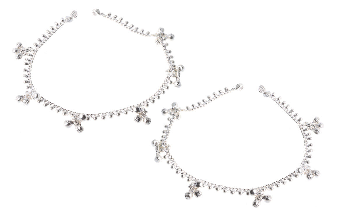 Silver Anklets with Ghughri Bell Charms (A-7161)