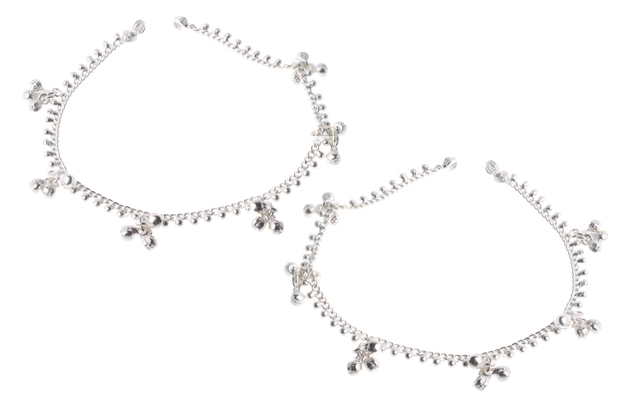 Silver Anklets with Ghughri Bell Charms A-7161 - Single