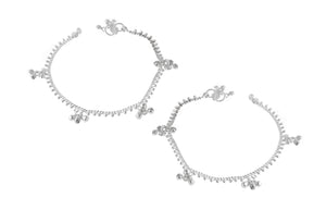 Silver Anklets with Ghughri Bell Charms A-7162 - Pair