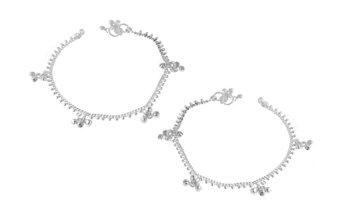 Silver Anklets with Ghughri Bell Charms (A-7162)