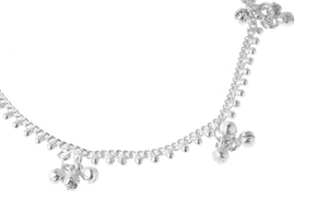 Silver Anklets with Ghughri Bell Charms A-7162 - Close Up_1