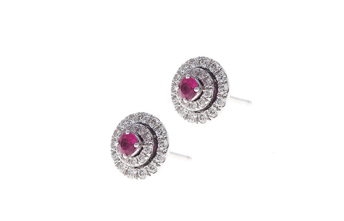 18ct White Gold 0.33ct Diamond & 0.19ct Ruby Earrings (A-E38322-3003)