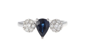 18ct White Gold Blue Sapphire & Diamond Dress Ring, Minar Jewellers - 2