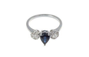 18ct White Gold Blue Sapphire & Diamond Dress Ring, Minar Jewellers - 1