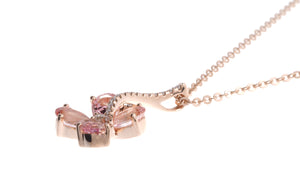 18ct Rose Gold Diamond and Pink Sapphire Pendant with Chain (AP30523-29)