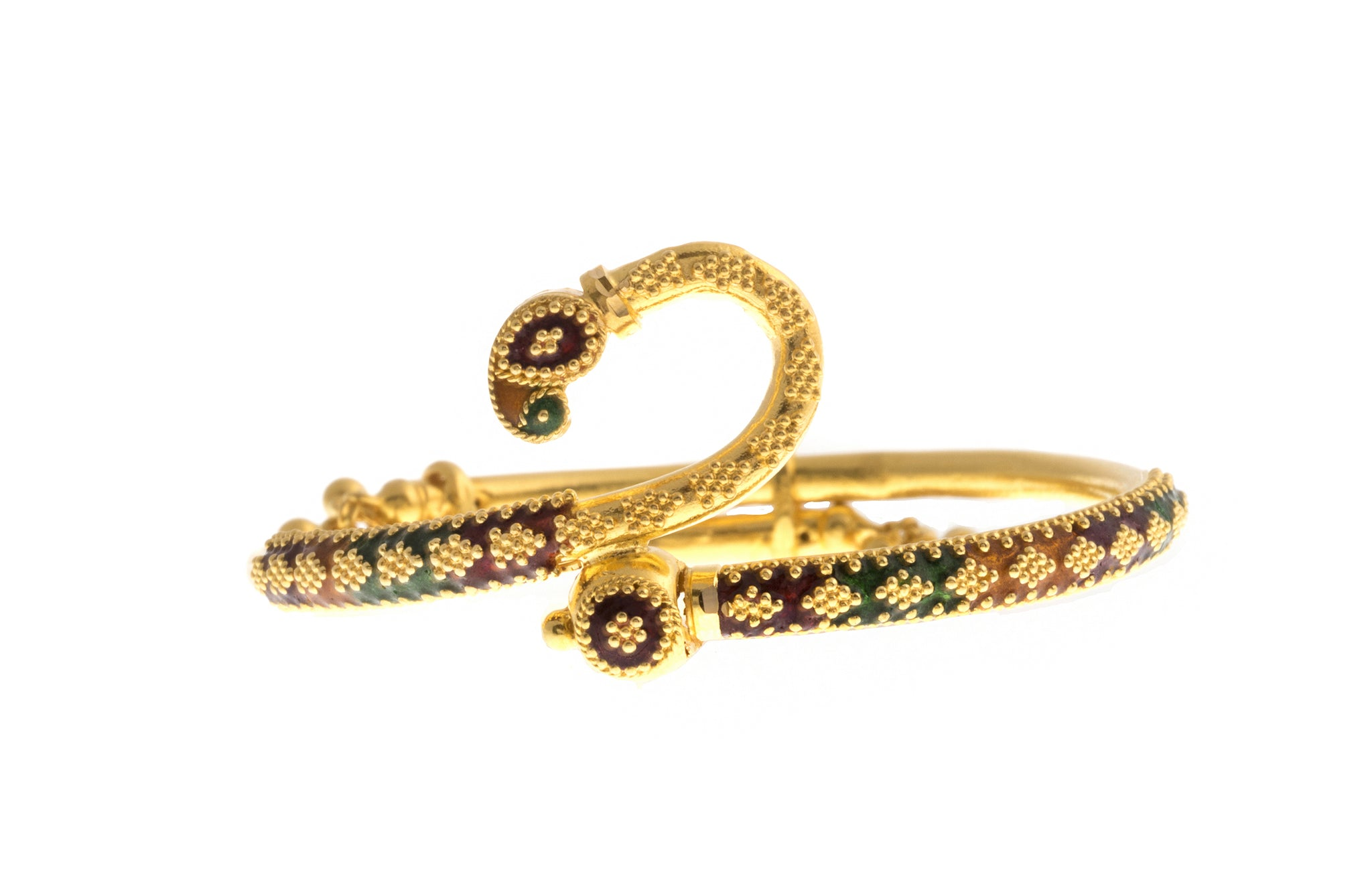 Hand Finished 22ct Yellow Gold 'Minakari' Children's Bangle (9.27g) (B-1386)