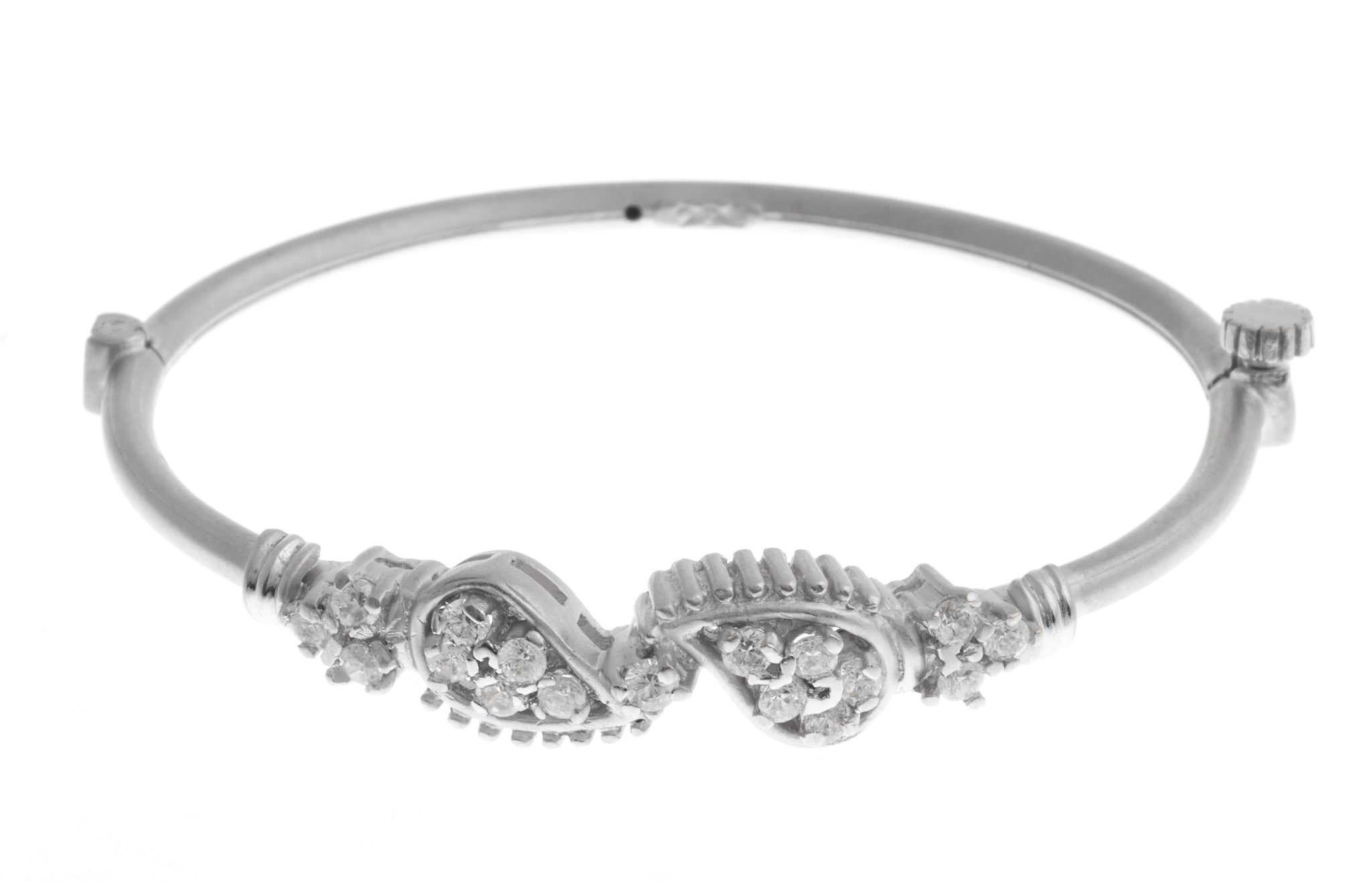 White Rhodium Plated Stone Set 22ct White Cubic Zirconia Children's Bangle B-1402