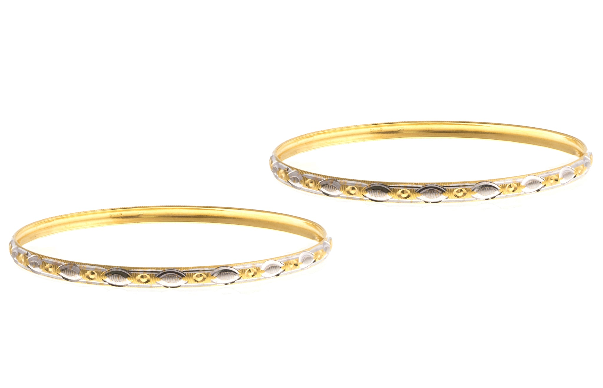 22ct Gold Two Tone Bangles (B-1422) - Pair