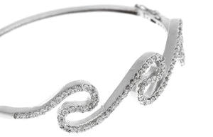 18ct White Gold Bangle with Cubic Zirconia Stones (17.1g) (B-1457)