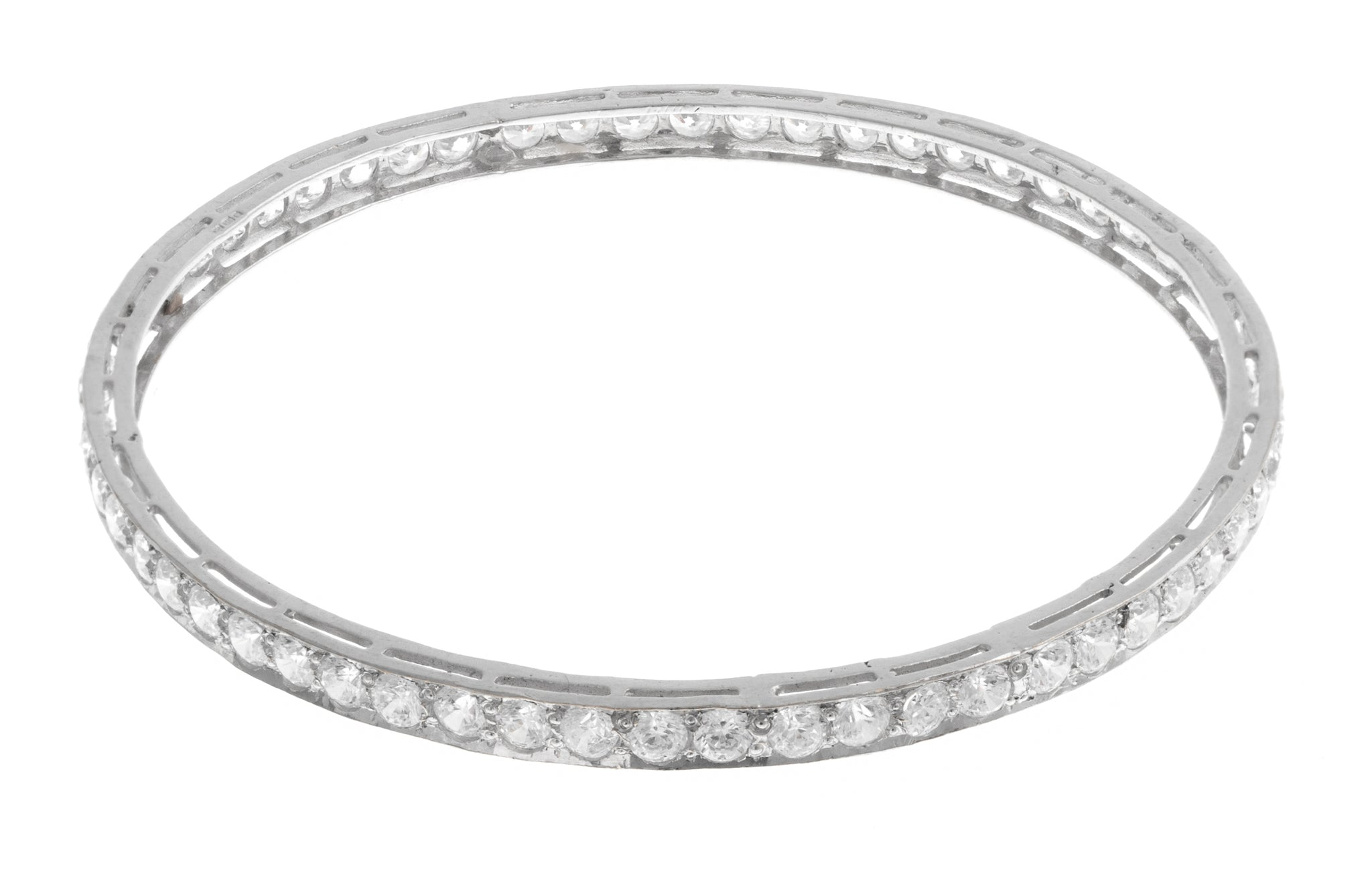 White Rhodium Plated Stone Set 22ct Gold Cubic Zirconia Bangle (13.89g) B-1459