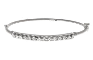 White Rhodium Plated Stone Set 22ct Gold Bangle (12.4g) (B-1462)