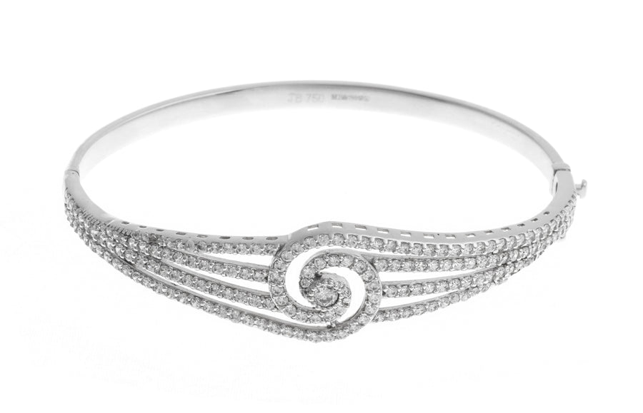 18ct White Gold Bangle with Cubic Zirconia Stones (14.7g) (B-1465)