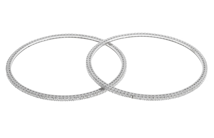 Stone Set 18ct White Gold Cubic Zirconia Bangle BG7070