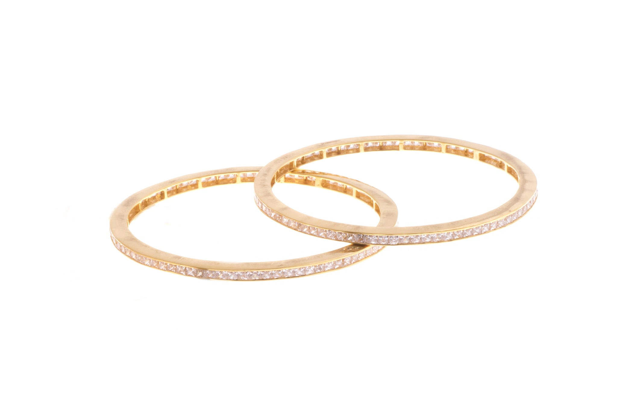 Stone Set 22ct Gold and Cubic Zirconia Bangles (B-1555) - Pair