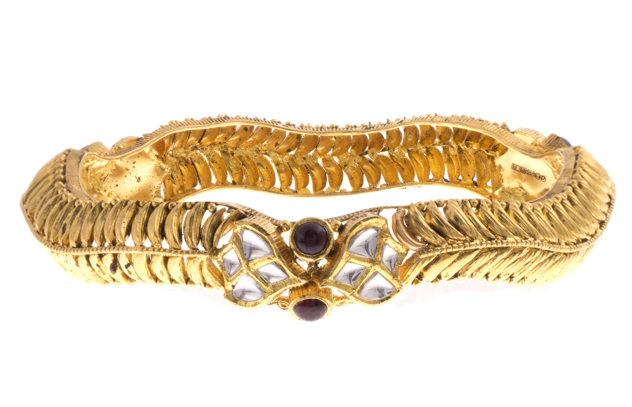 22ct Yellow Gold Antiquated Look Bangle with Synthetic Stones B-1582