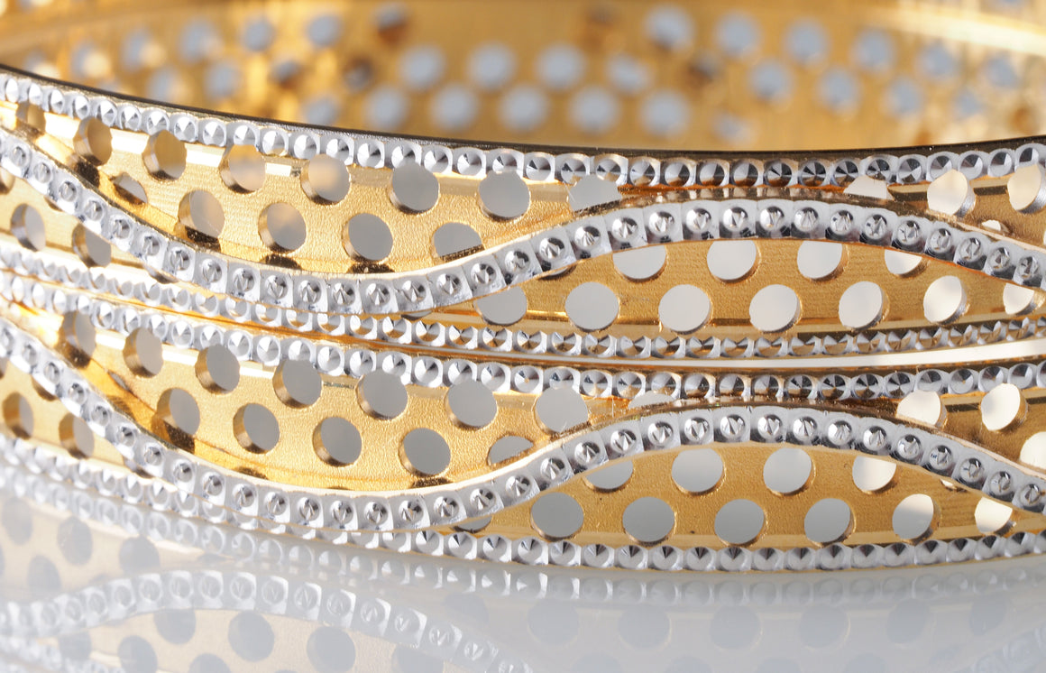 2 x 22ct Yellow Gold and Rhodium Plated Bangles (B-5902) (online price only)