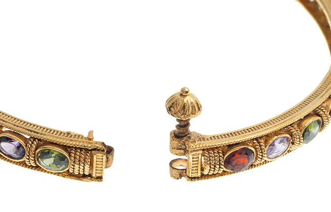 2 x 22ct Gold Antiquated Look Stone Set Hinged Bangles (B-6221) (online price only)
