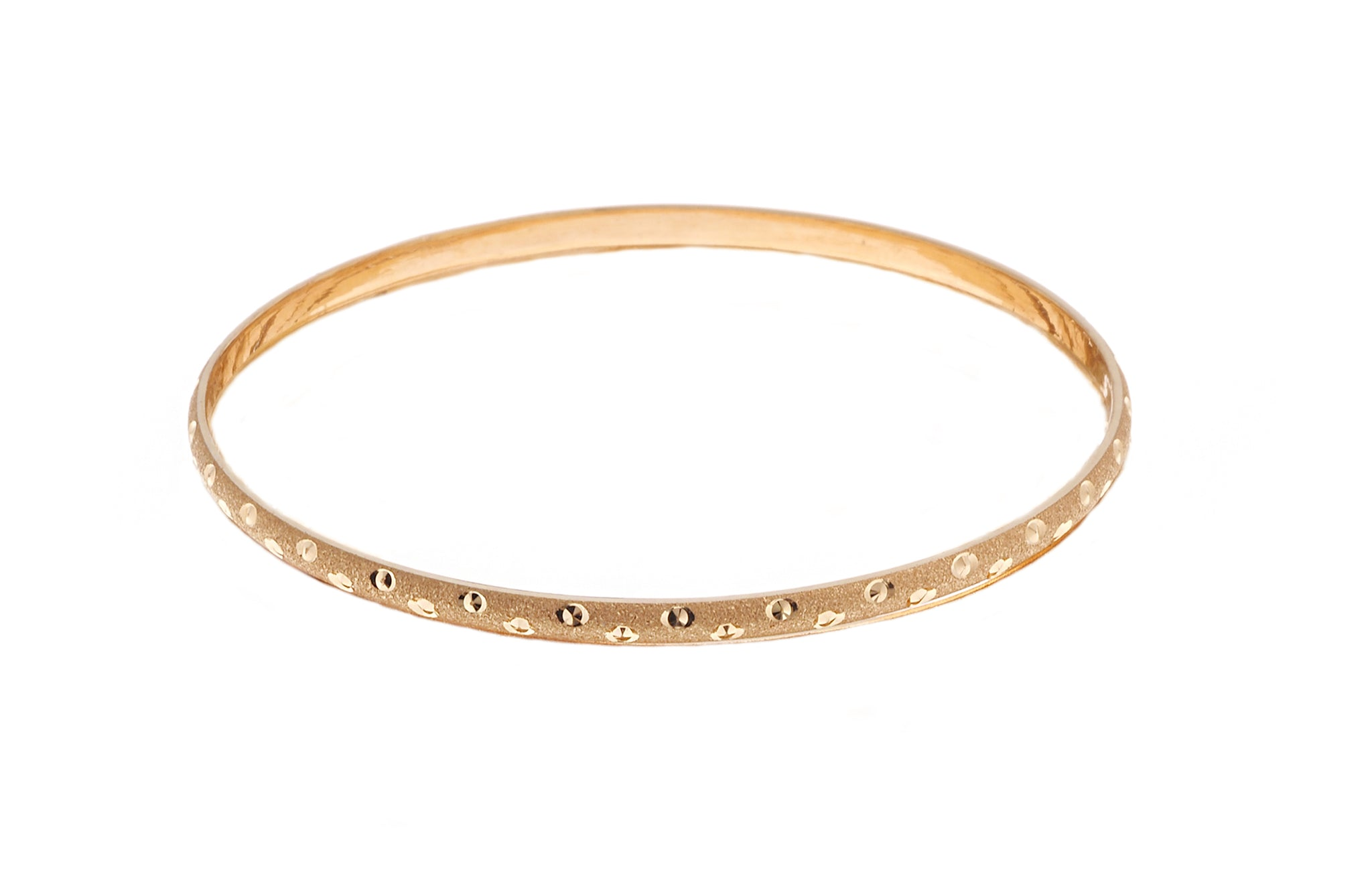 22ct Gold Satin Finish Bangles with diamond cut & rhodium design (B-6270)