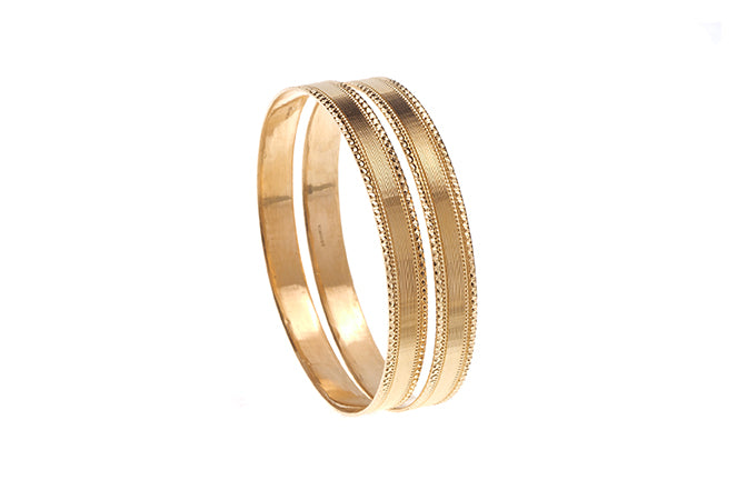 22ct Gold Bangles with diamond cut design B-6271
