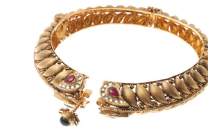22ct Yellow Gold Antiquated Look Bangle with Synthetic Stones (B-6542) (online price only)