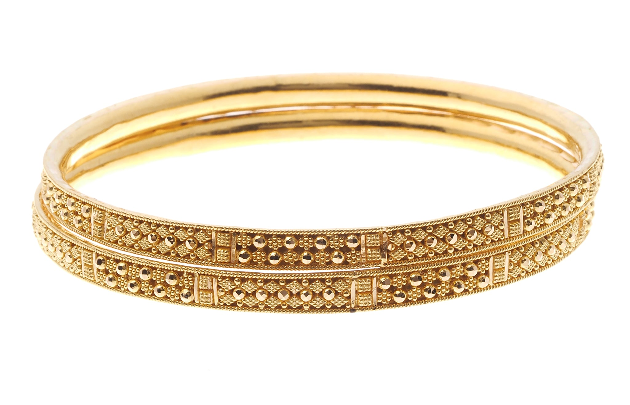 22ct Gold Filigree Design Bangles with Comfort Finish (B-6572)