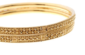 22ct Yellow Gold Filigree Design Bangles with Comfort Finish (B-6572)