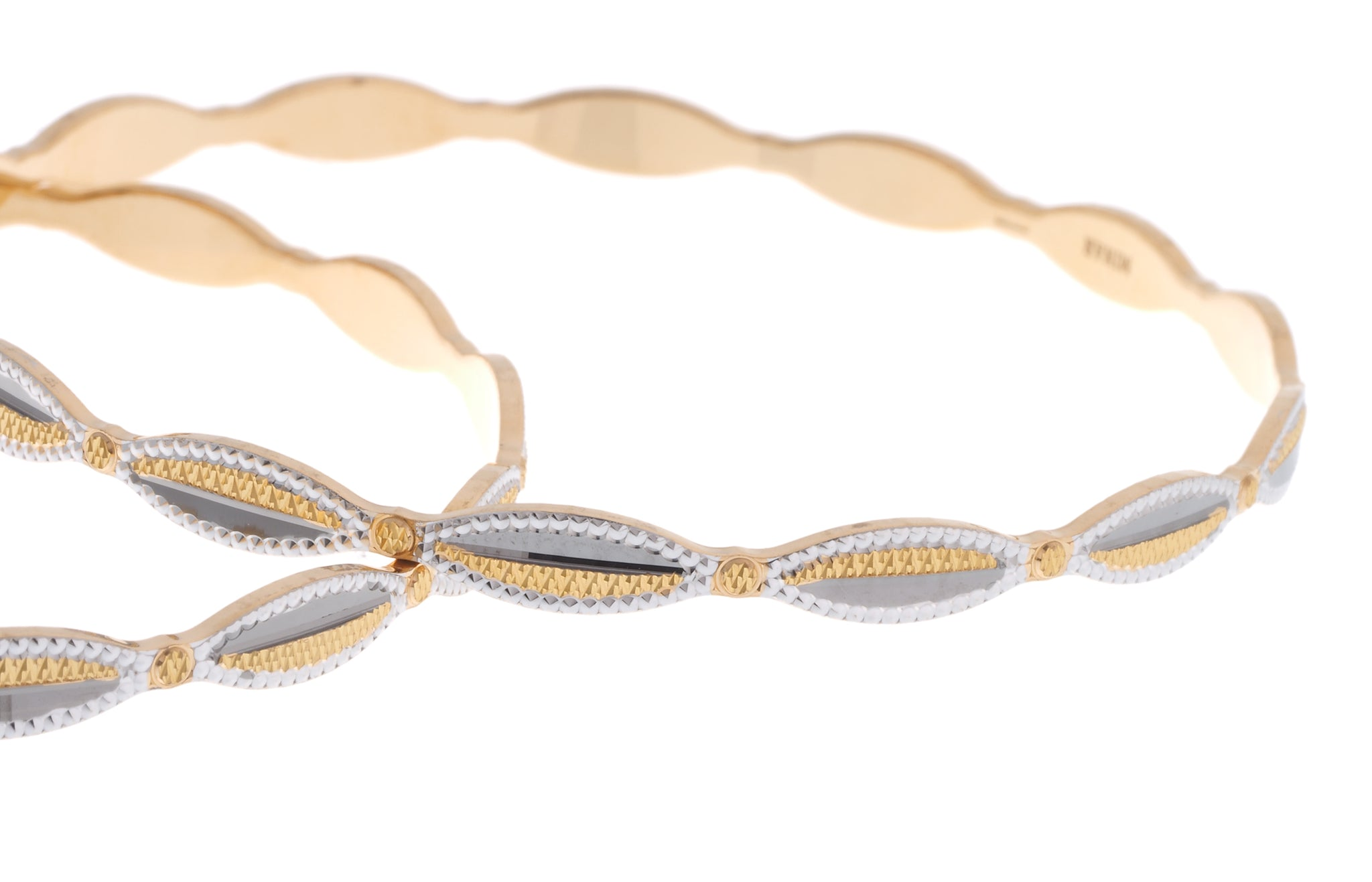 22ct Gold Diamond Milled Bangles with Rhodium Design B-6928
