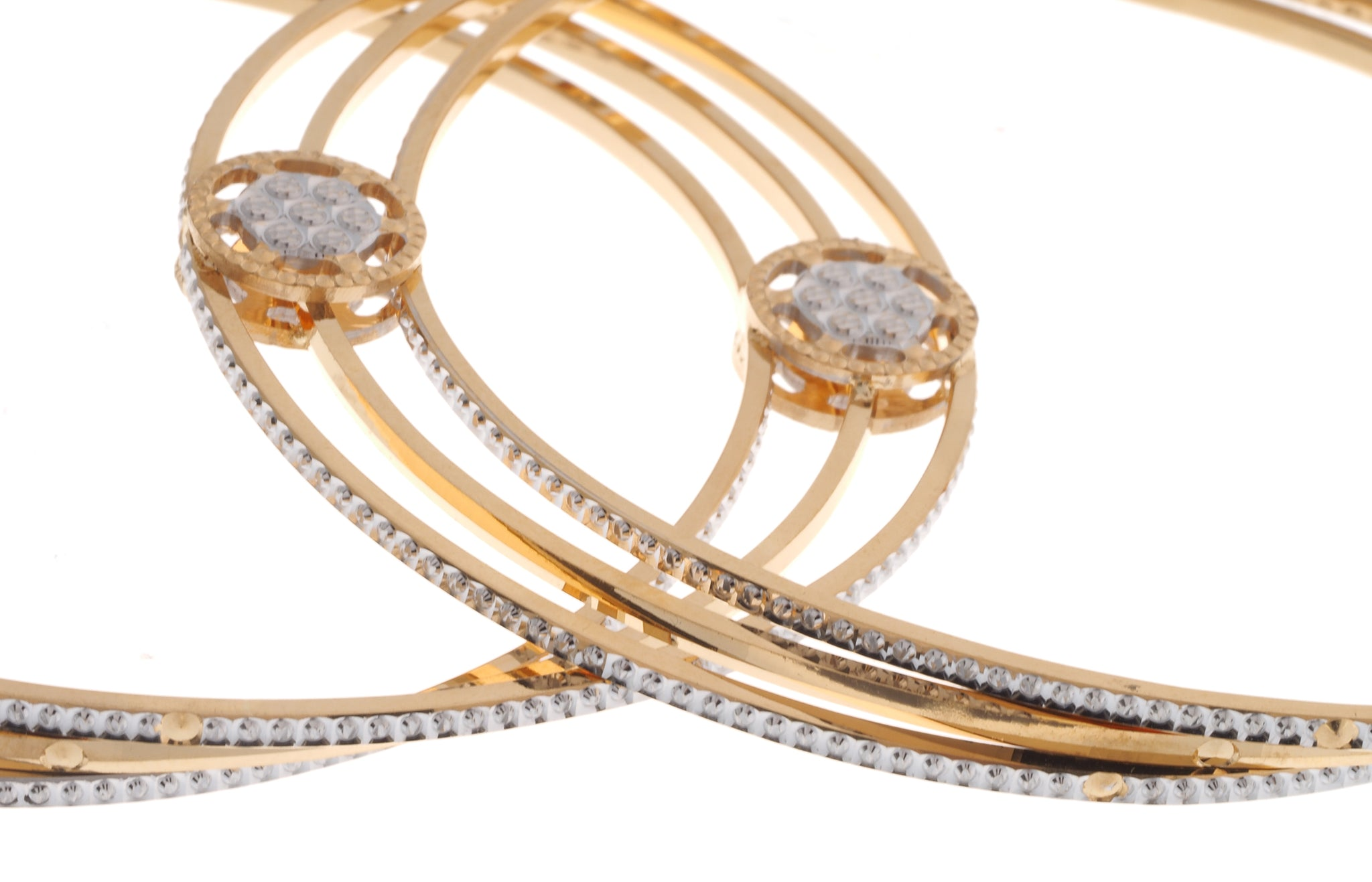 22ct Gold Bangles with Rhodium Design B-6929