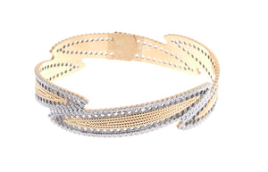 22ct Gold Bangle with diamond milled and rhodium design and clasp (30.7g) (B-6930)