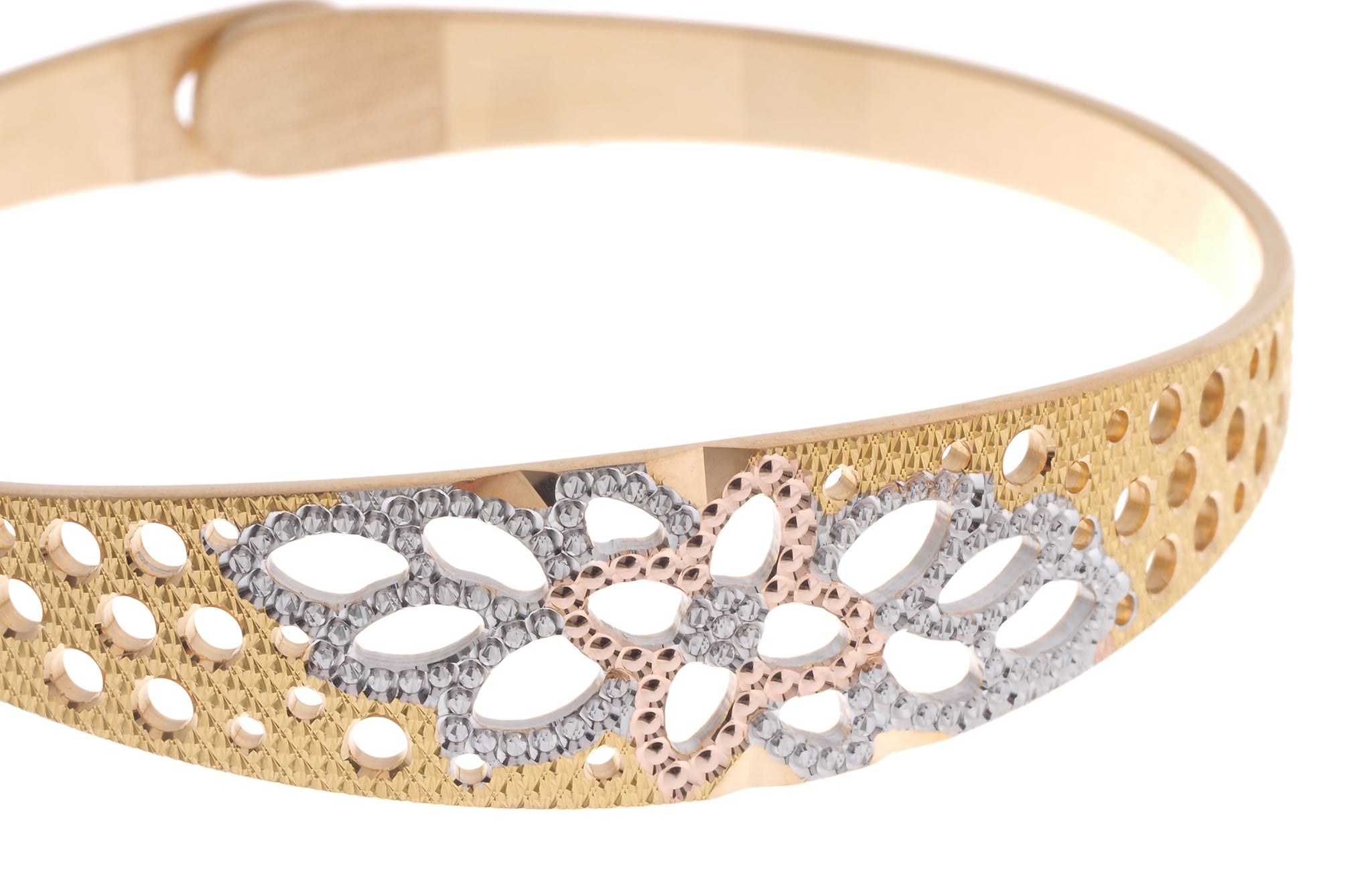 22ct Gold Bangle with diamond milled and rhodium design and clasp (23.7g) B-6932