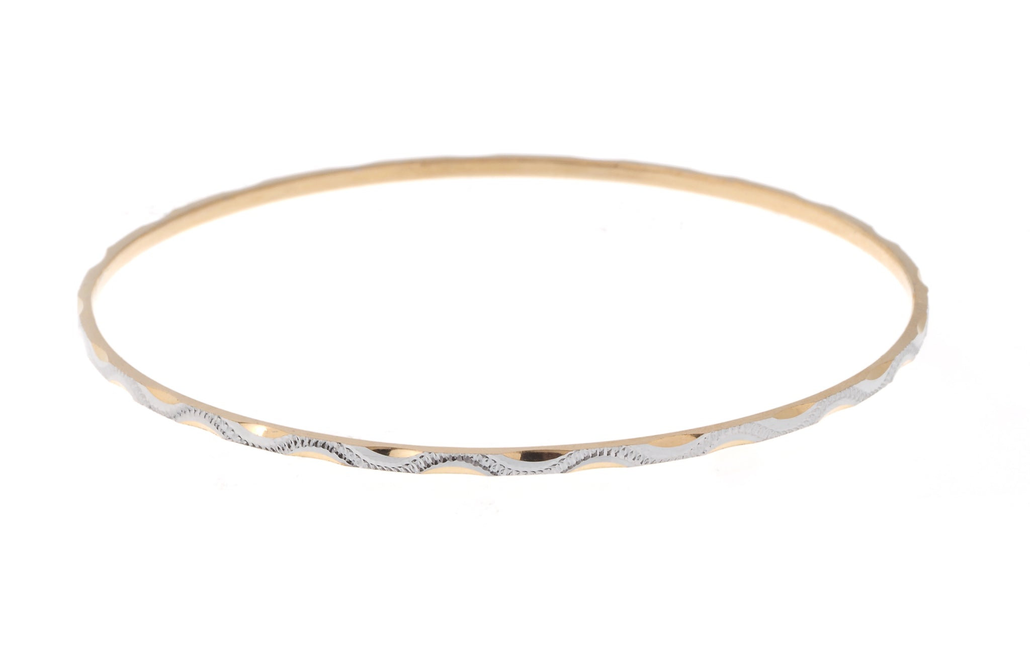 Set of Six 22ct Gold Diamond Milled Bangles with Rhodium Design B-7134