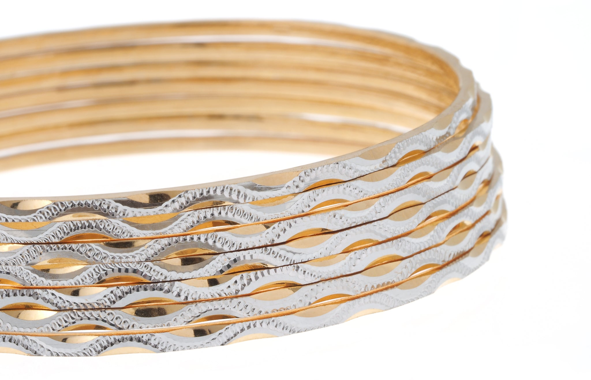 Set of Seven 22ct Gold Diamond Milled Bangles with Rhodium Design (B-7134)