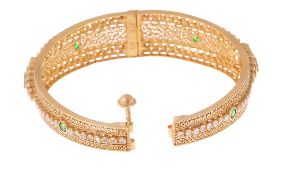 22ct Gold Antiquated Look Hinged Bangle set with Polki Style Cubic Zirconias with Green and Pink Stones (27.5g) B-7163