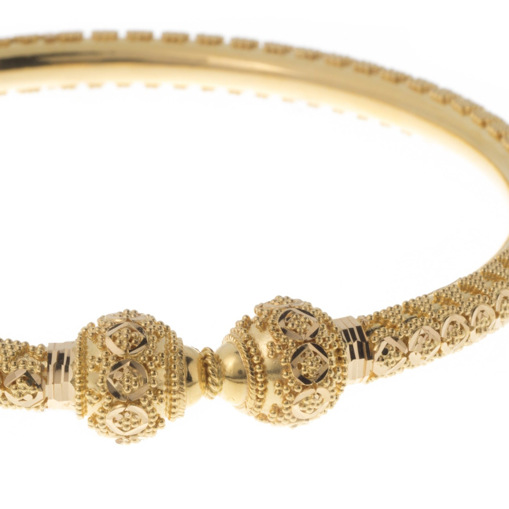 22ct Gold Bangles with Diamond Cut Design and Comfort Fit B-7402