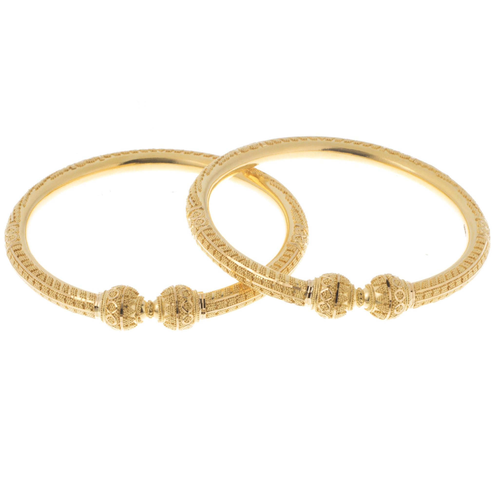 22ct Gold Bangles with Diamond Cut Design and Comfort Fit B-7404