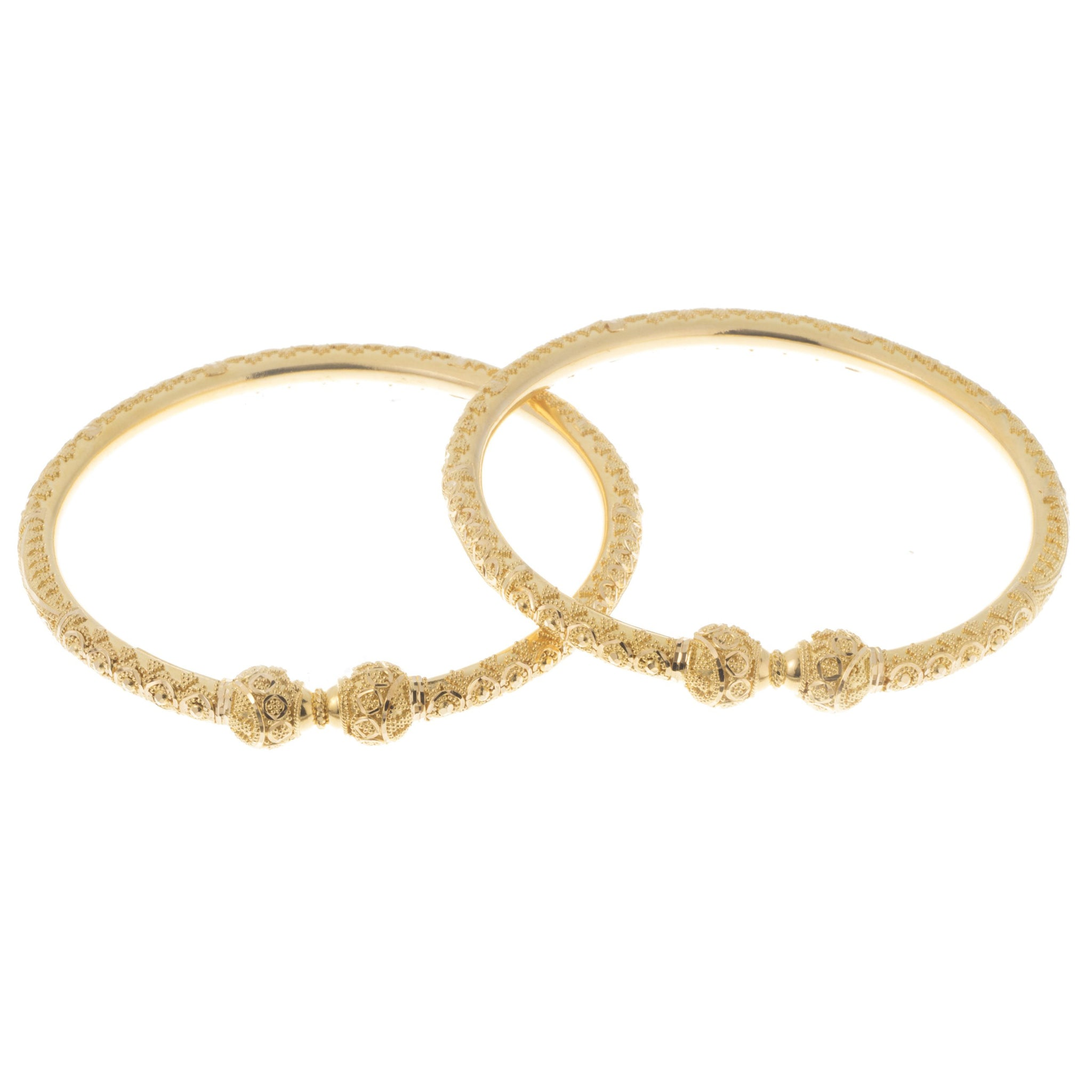 22ct Gold Bangles with Diamond Cut Design and Comfort Fit B-7405