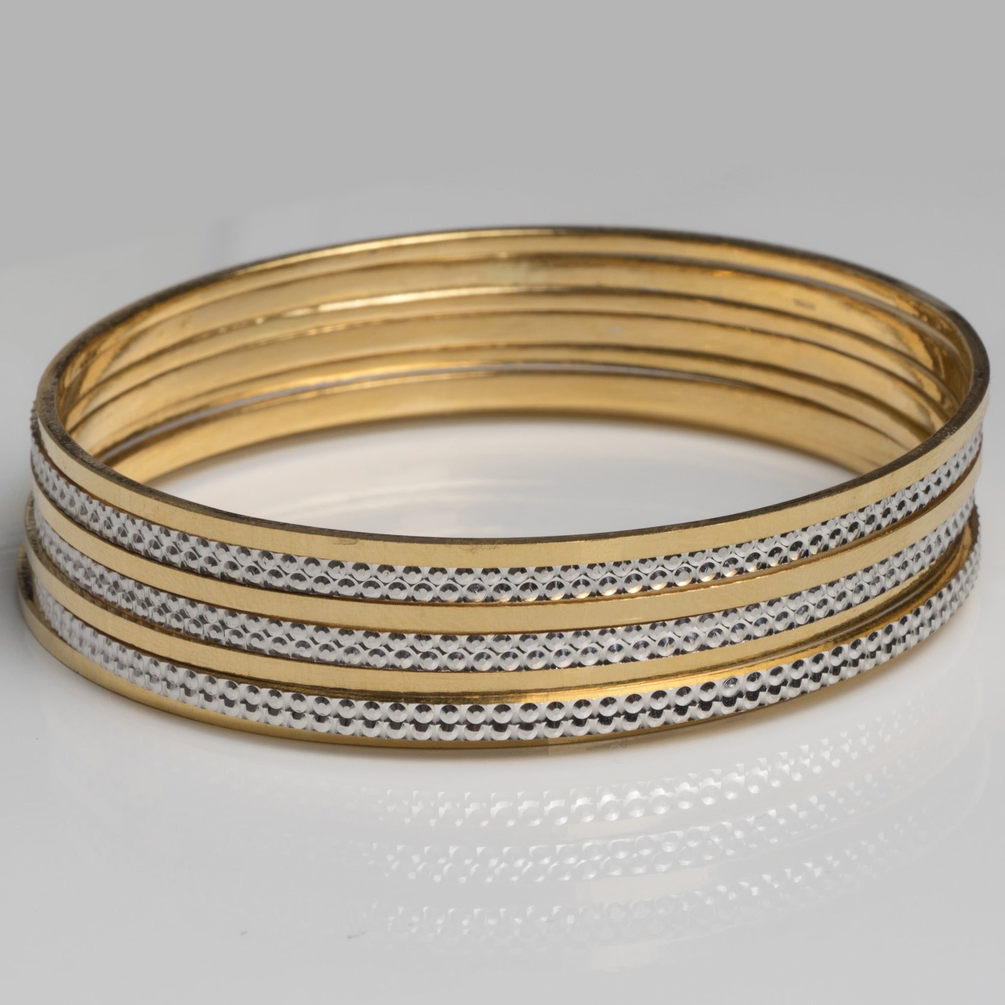 22ct Gold Diamond Cut and Rhodium Design Bangles (59.5g) B-7415