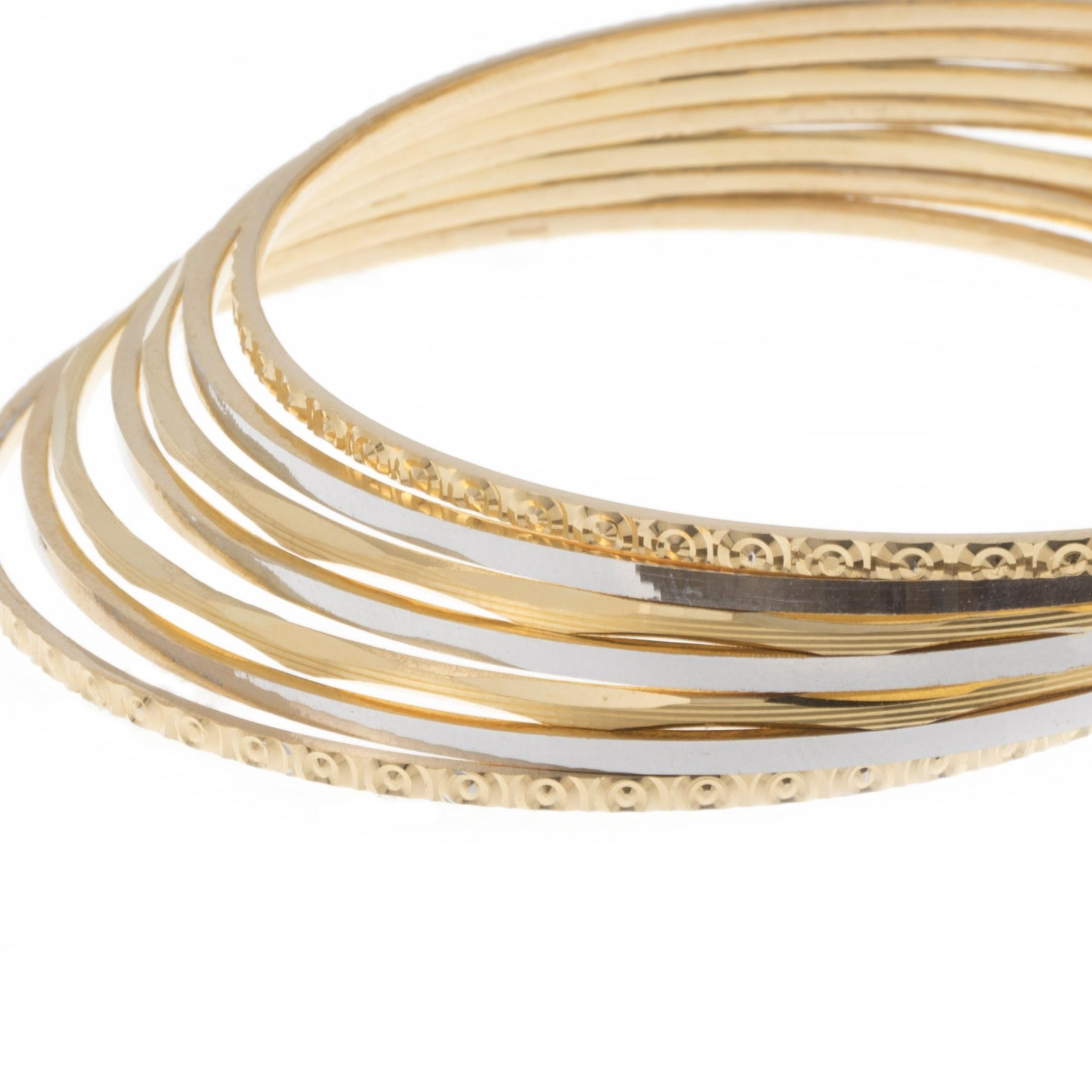22ct Gold Diamond Cut and Rhodium Design Bangles (46.1g) B-7416