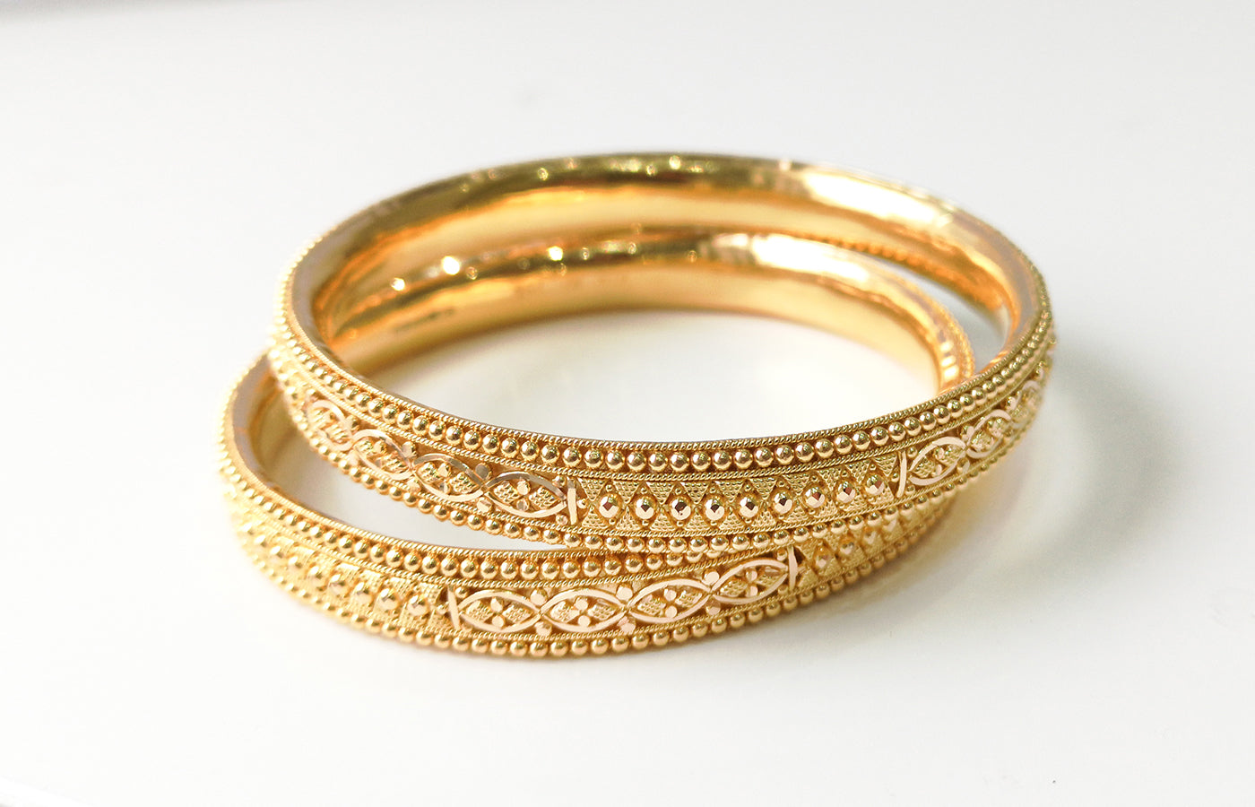22ct Gold Filigree Design Bangles (set of six) B-7589