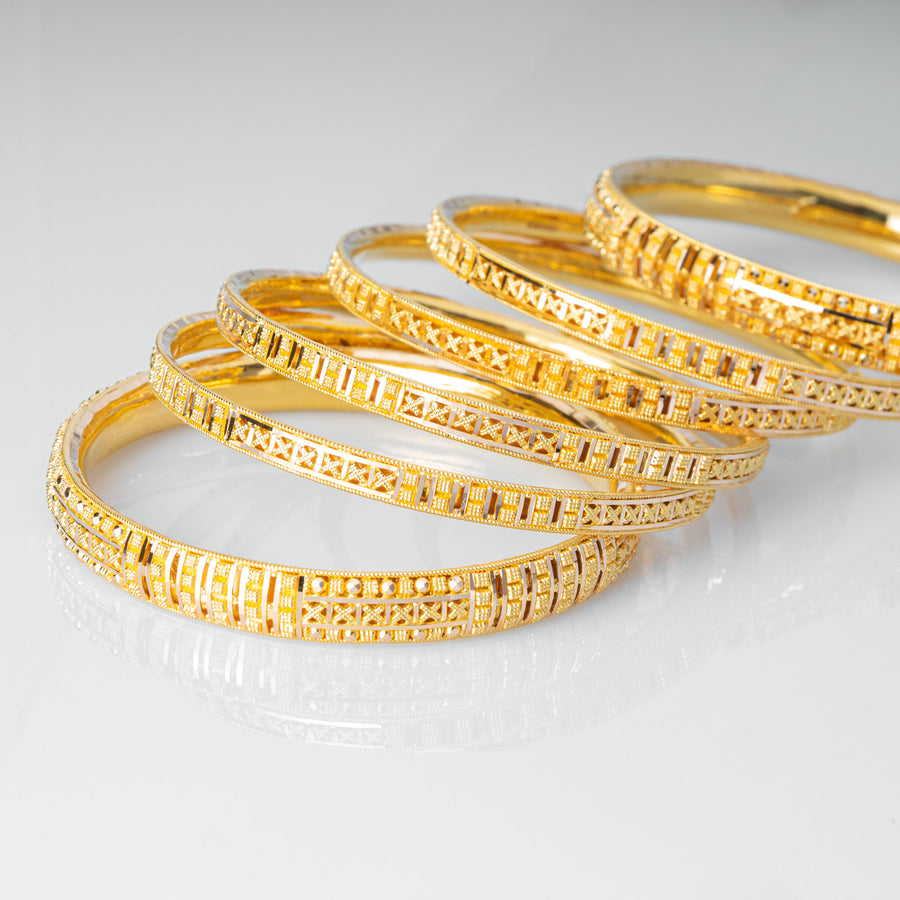22ct Gold Bangles with filigree design and comfort fit (set of six) B-7923