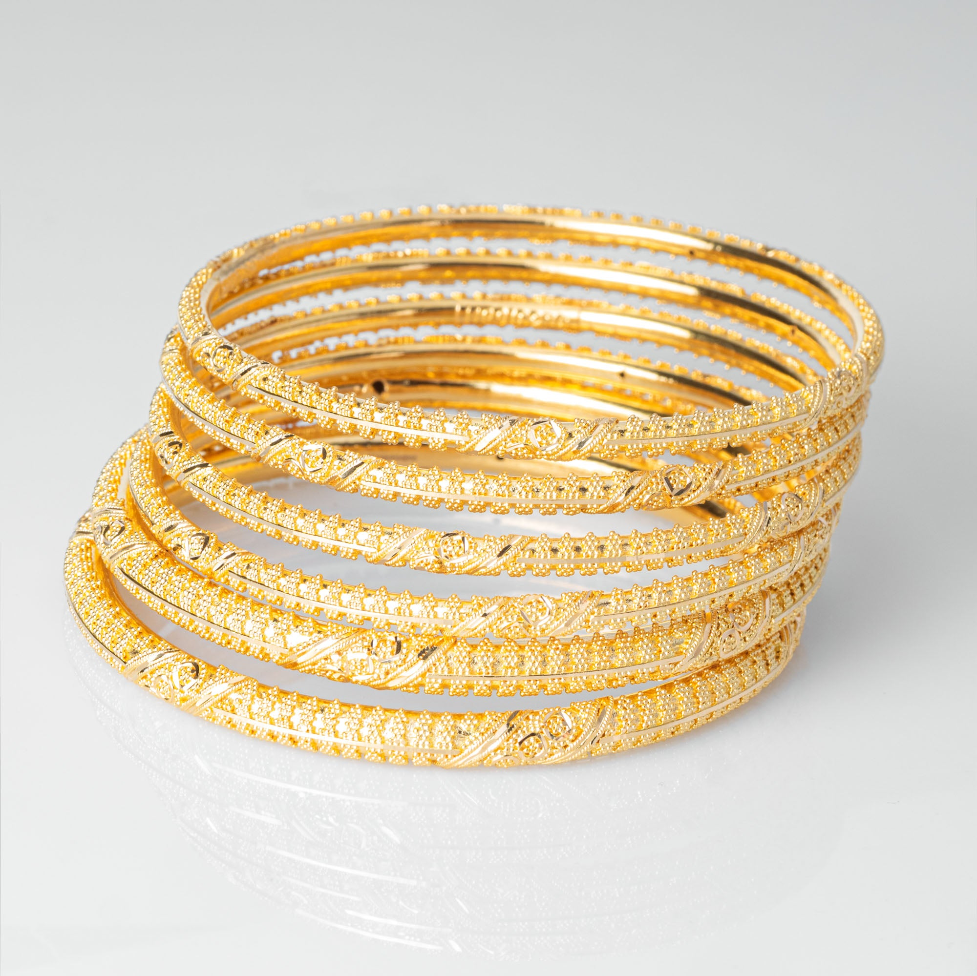 22ct Gold Bangles with filigree design and comfort fit (set of six) B-7924