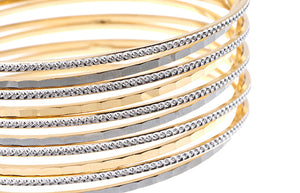 22ct Gold Cuff Bangle with rhodium design (66.7g) (B-CUFF_1)